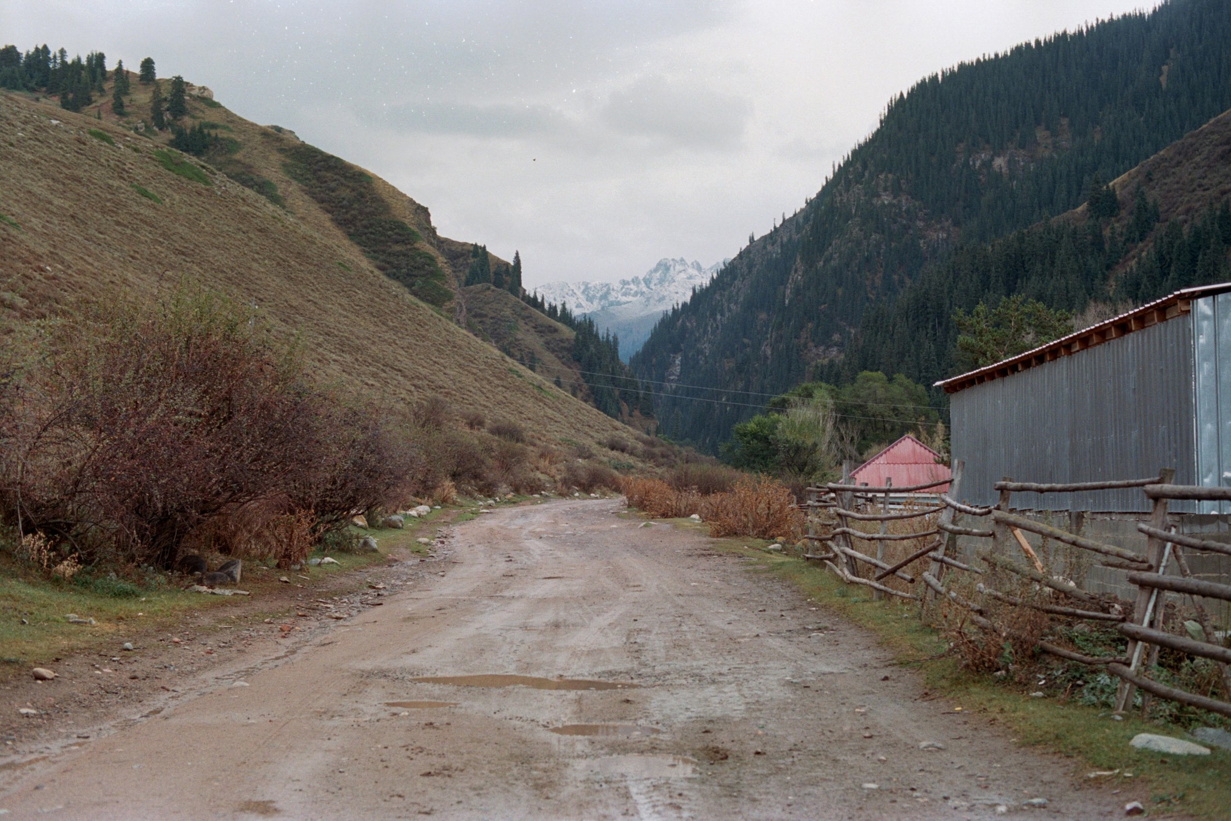 We're entering Jetti-Oghuz park to find a camping spot for the night. The landscape reminds me of the Alps.