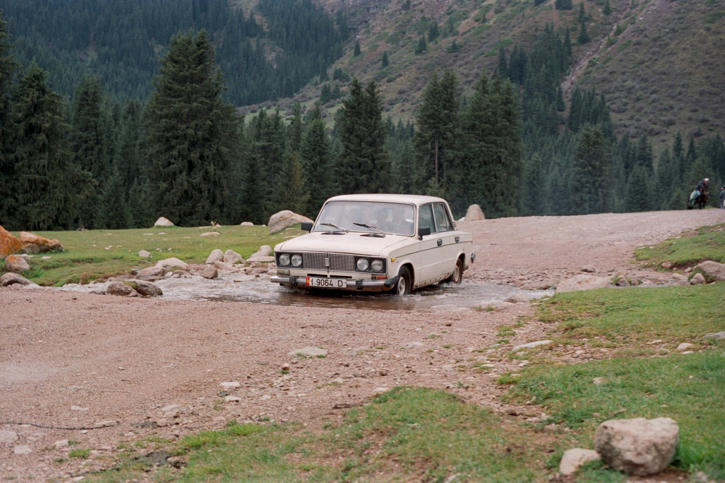 Lada. This model is inherited from the soviet era. It's the most common car in Kyrgyzstan.