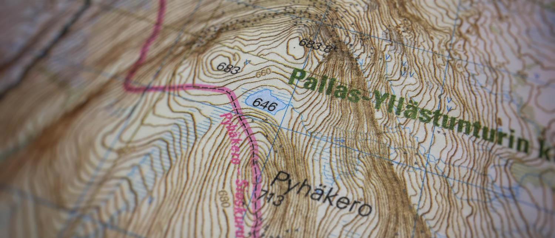 Kartta Pallas-Yllästunturin kansallispuistoon.