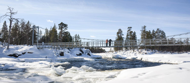 Jäniskosken sillalta voi katsoa kosken kohinaa ja tarkkailla jäiden sulamista.