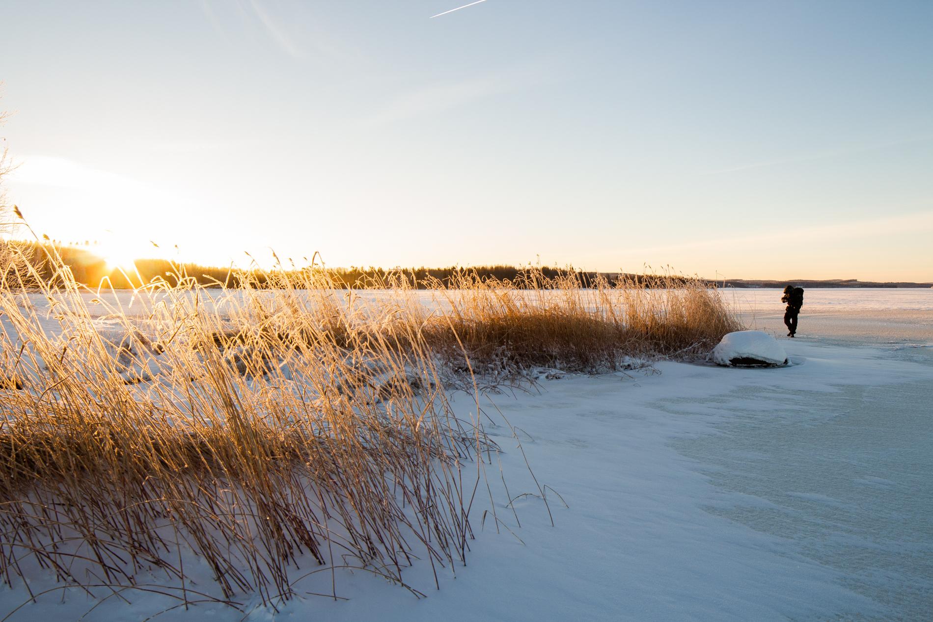 Aurinkoinen pakkassää järvellä.