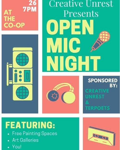 Tonight!! Creative Unrest & Terppoets are hosting an open Mic starting at 7 -- come through & sing/dance/paint away the stress from this week 😌