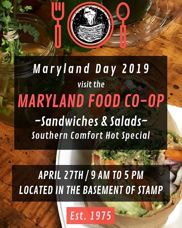 The co-op is OPEN for #MarylandDay until 5pm - come on in for what was recently ranked the BEST COFFEE IN MD! (only $1.25/mug) Today's hot special is Southern Comfort ($8/lb, vegan, gluten-free, mmmmmm)