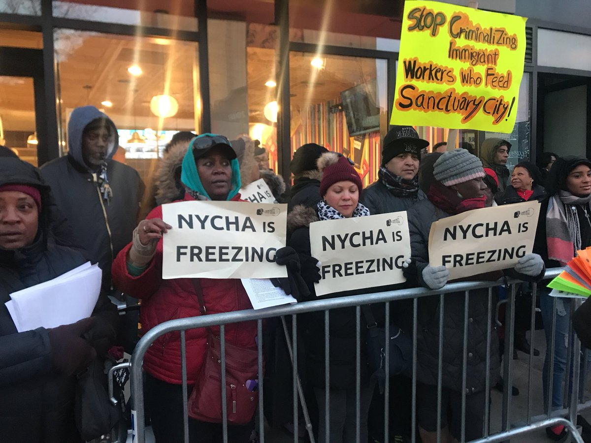CVH members protest broken heating in NYCHA developments.