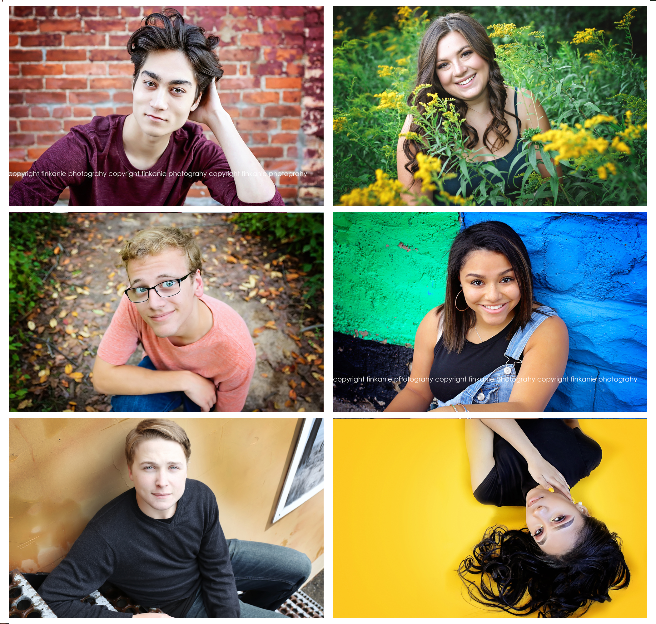 Senior Experience - Up to two locations. Unlimited outfit changes. Friends and pets welcome! Studio sessions available. Add-on a montage session for $95 session fee to showcase your sports, band, singing, dance, or other talents!·$175 Session Fee·$500 Print Credit·90-minute average session time