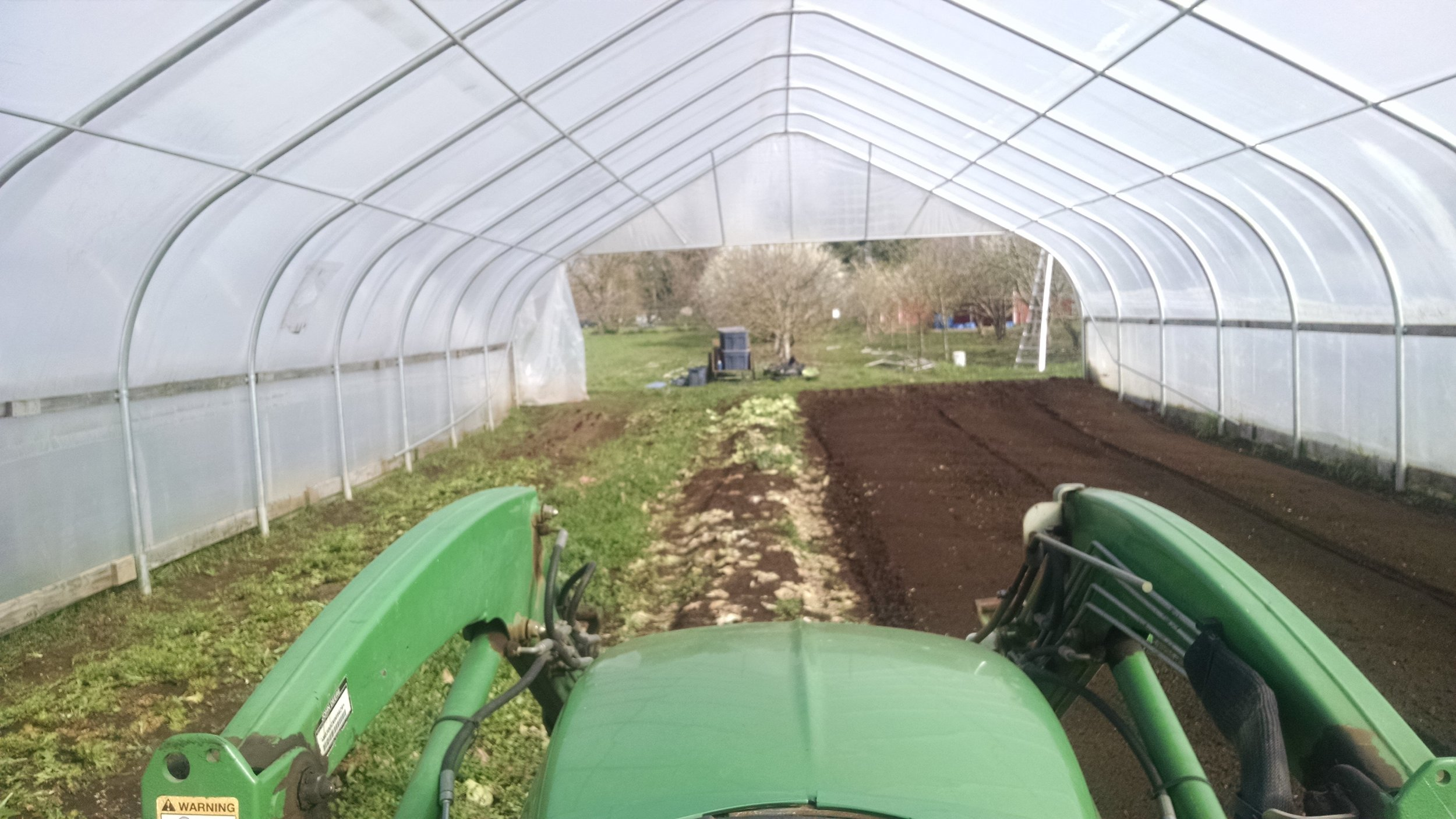 Making chocolate cake, aka tilling greenhouse beds