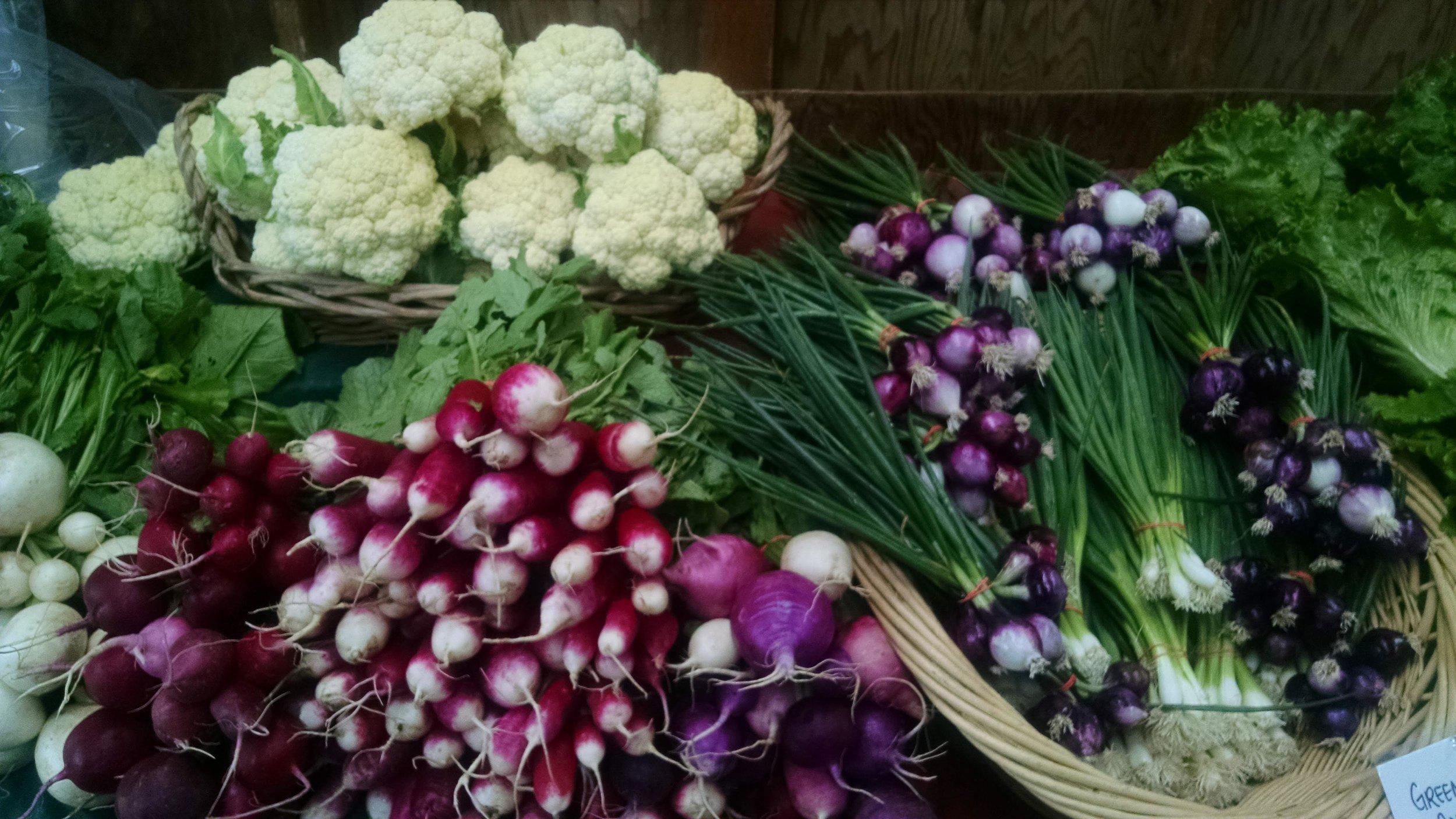 Radish, cauliflower, green onions