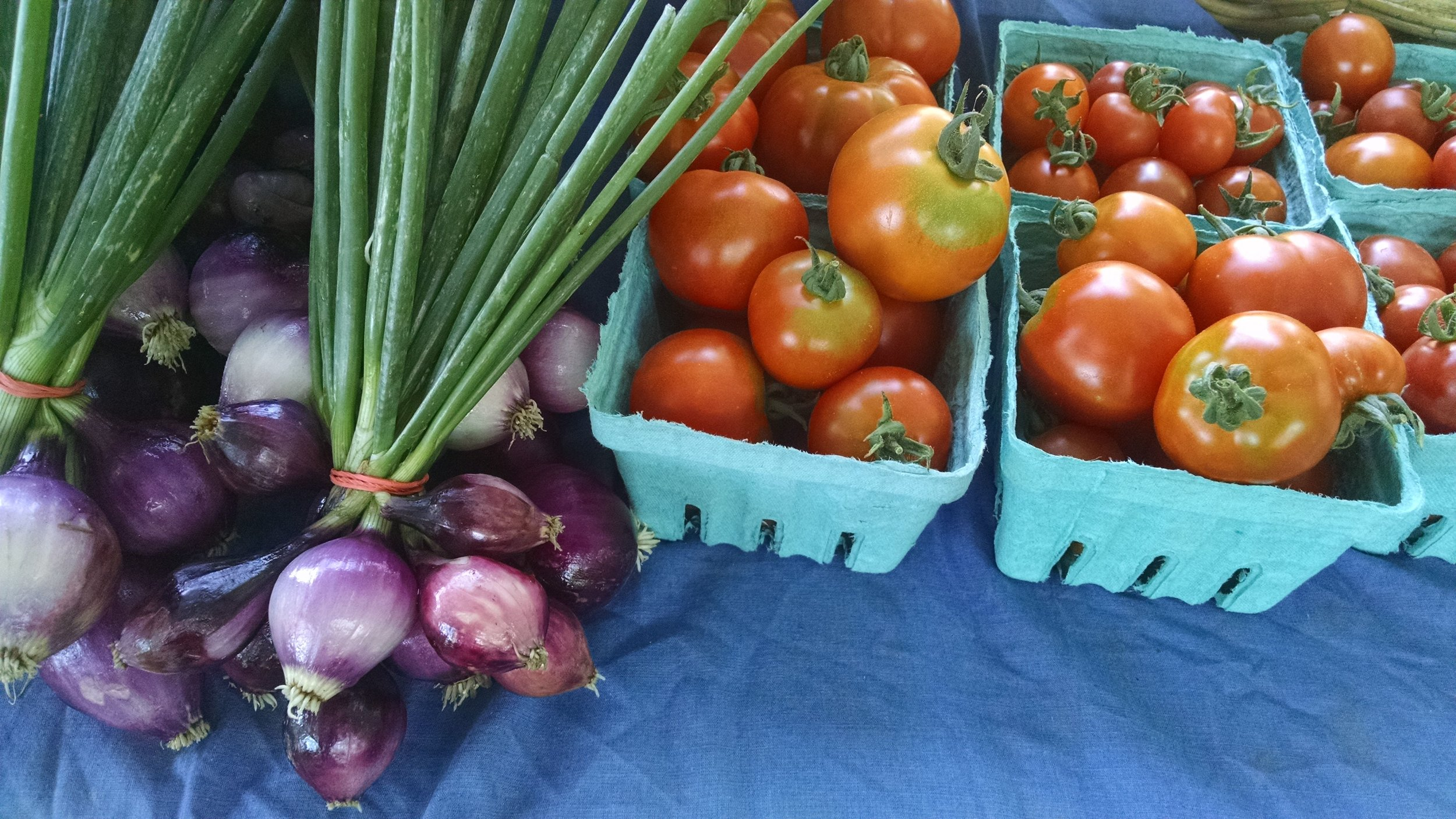 Purple pearl onions and tomatoes