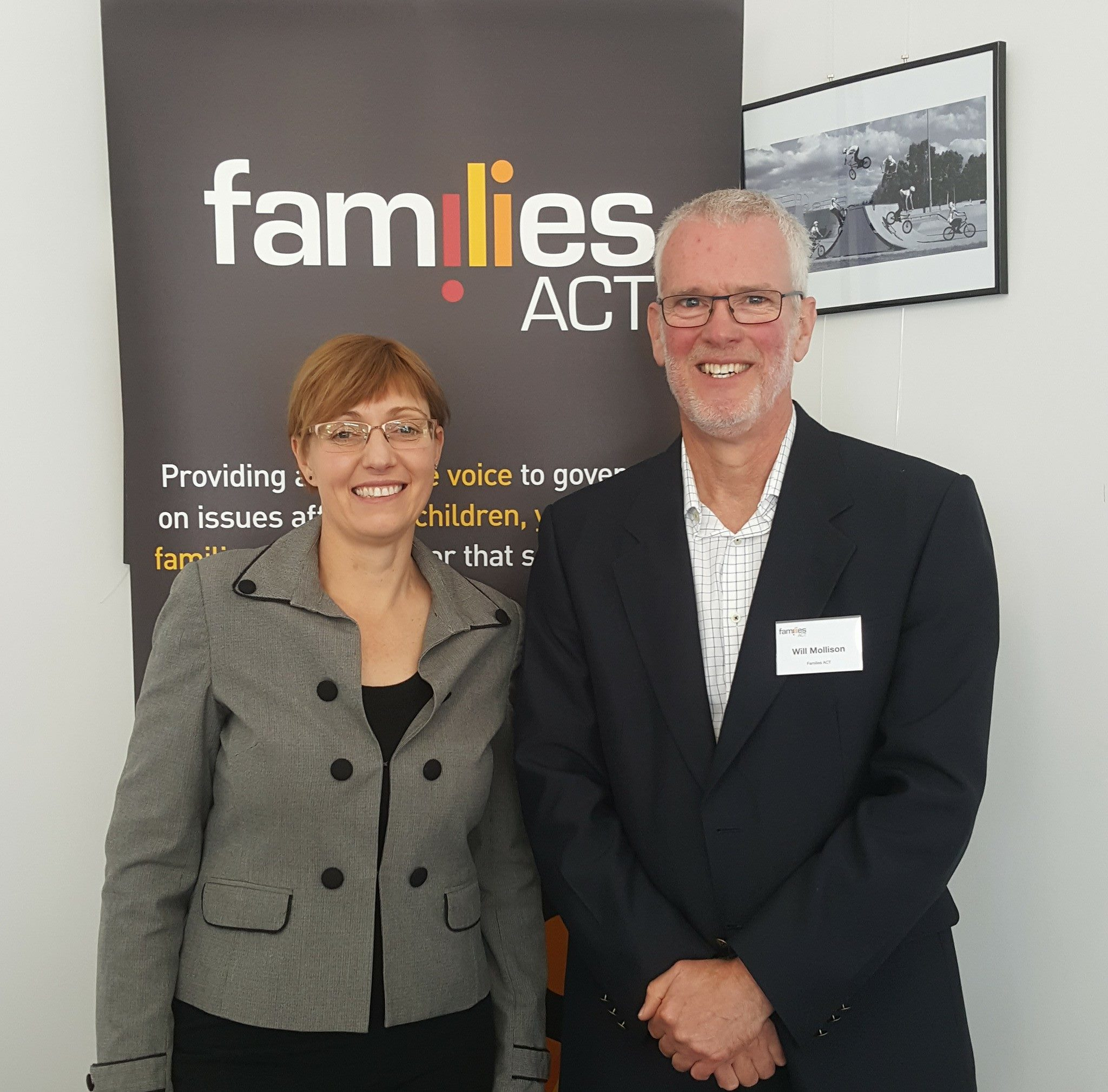 Families ACT Executive Officer Will Mollison with Community Services Minister Rachel Stephen-Smith.