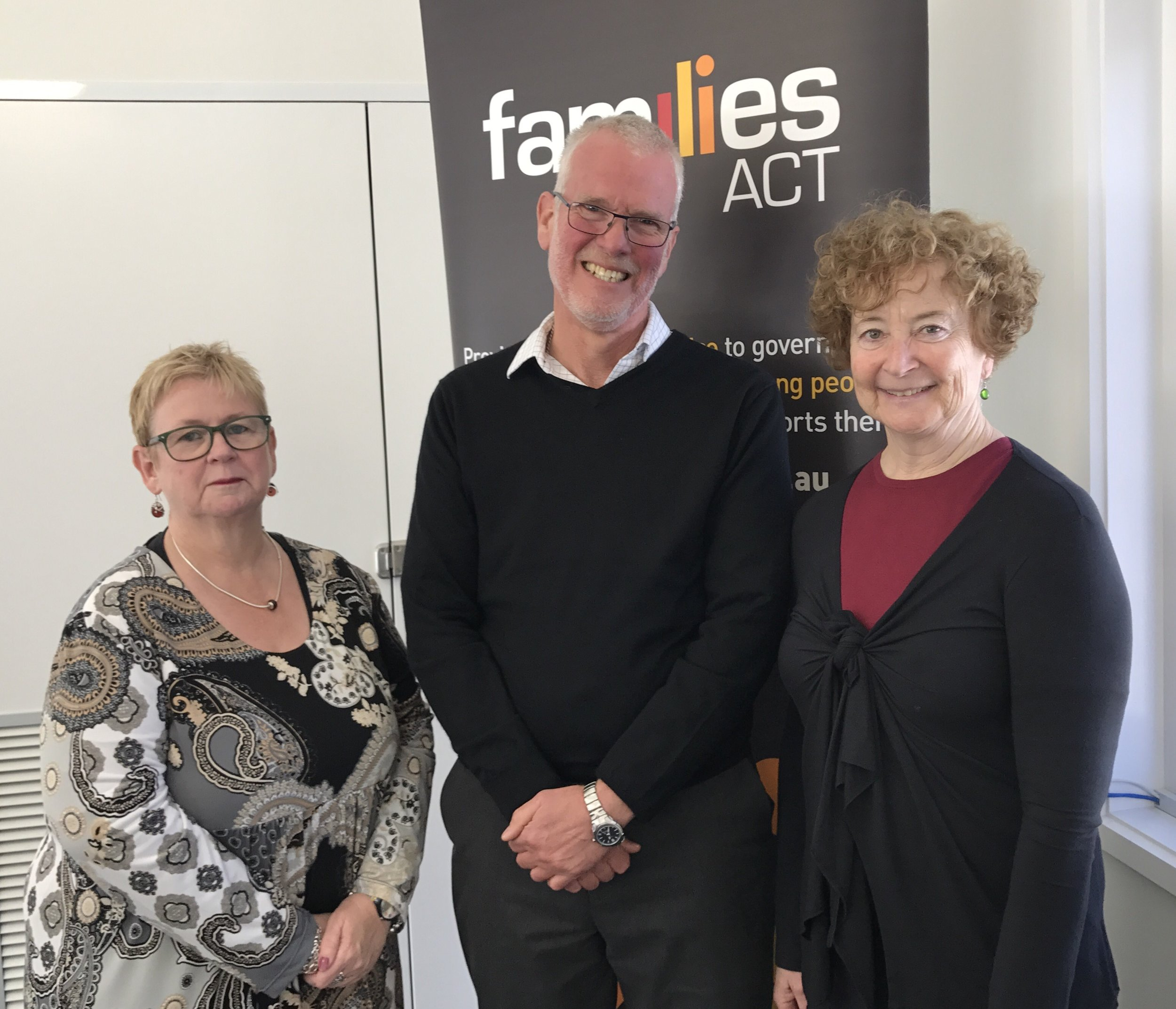 (L-R) Pauline Thorneloe, President of the Families ACT Board, with Executive Officer Will Mollison, and outgoing President Mary Pekin.