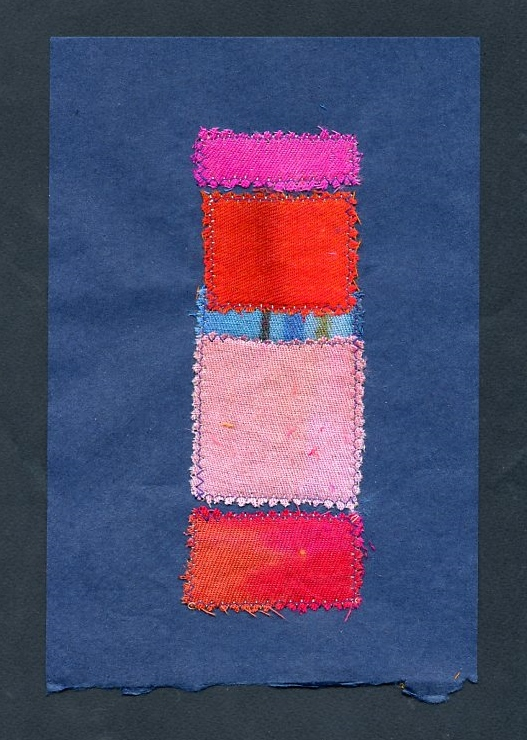 """SCHMATA BUSINESS,  WOOL AND SILK CLOTH REMNANTS WITH THREAD ON HANDMADE PAPER, 9"""" X 6""""/23CM X 15.25CM, 2014"""