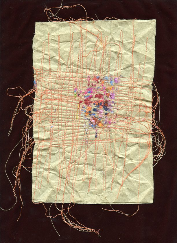 """MENDING, #1, WOOL AND SILK CLOTH REMNANTS WITH THREAD ON HANDMADE PAPER, 9"""" X 6""""/23CM X 15.25CM, 2014"""