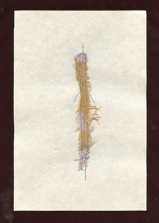 """BRANCH, WOOL CLOTH REMNANTS WITH THREAD ON HANDMADE PAPER, 9"""" X 6""""/23CM X 15.25CM, 2015"""