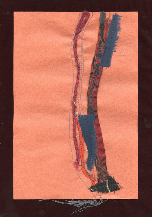 """SCHMATA BUSINESS, #3 , WOOL AND SILK CLOTH REMNANTS WITH THREAD ON HANDMADE PAPER, 9"""" X 6""""/23CM X 15.25CM, 2015"""