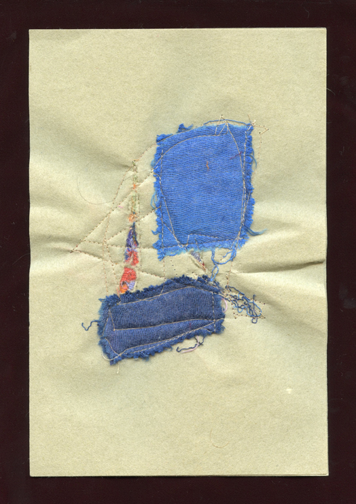 """MENDING, #4 , WOOL CLOTH REMNANTS WITH THREAD ON HANDMADE PAPER, 9"""" X 6""""/23CM X 15.25CM, 2015"""