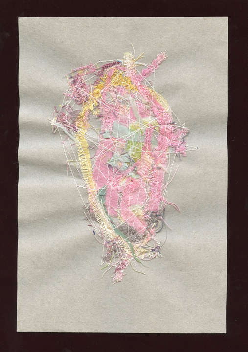 """PINK NEXT, WOOL AND SILK CLOTH REMNANTS WITH THREAD ON HANDMADE PAPER, 9"""" X 6""""/23CM X 15.25CM, 2015"""