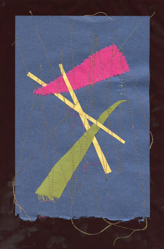 """MARCH HYACINTH, #1, WOOL AND SILK CLOTH REMNANTS WITH THREAD AND HANDMADE PAPER, 9"""" X 6""""/23CM X 15.25CM, 2015"""