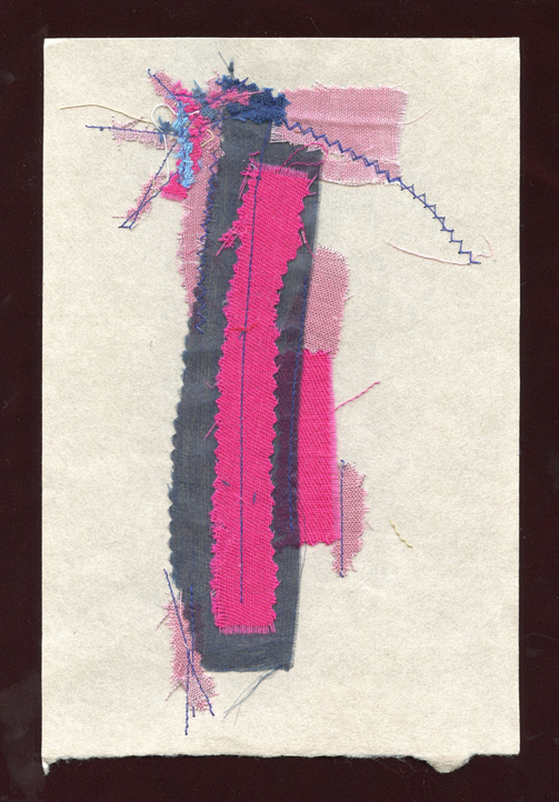 """WHAT'S NEXT?, WOOL AND SILK CLOTH REMNANTS WITH THREAD ON HANDMADE PAPER, 9"""" X 6""""/23CM X 15.25CM, 2015"""