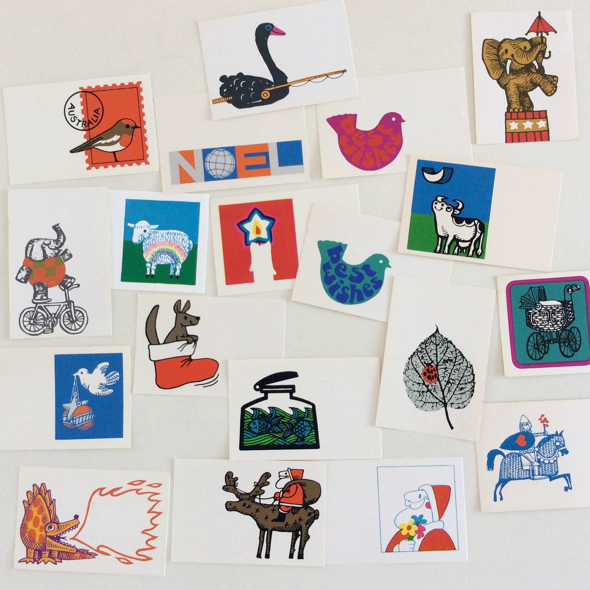 A selection of Dajer cards produced by David and Jenny Rose in the 1960s