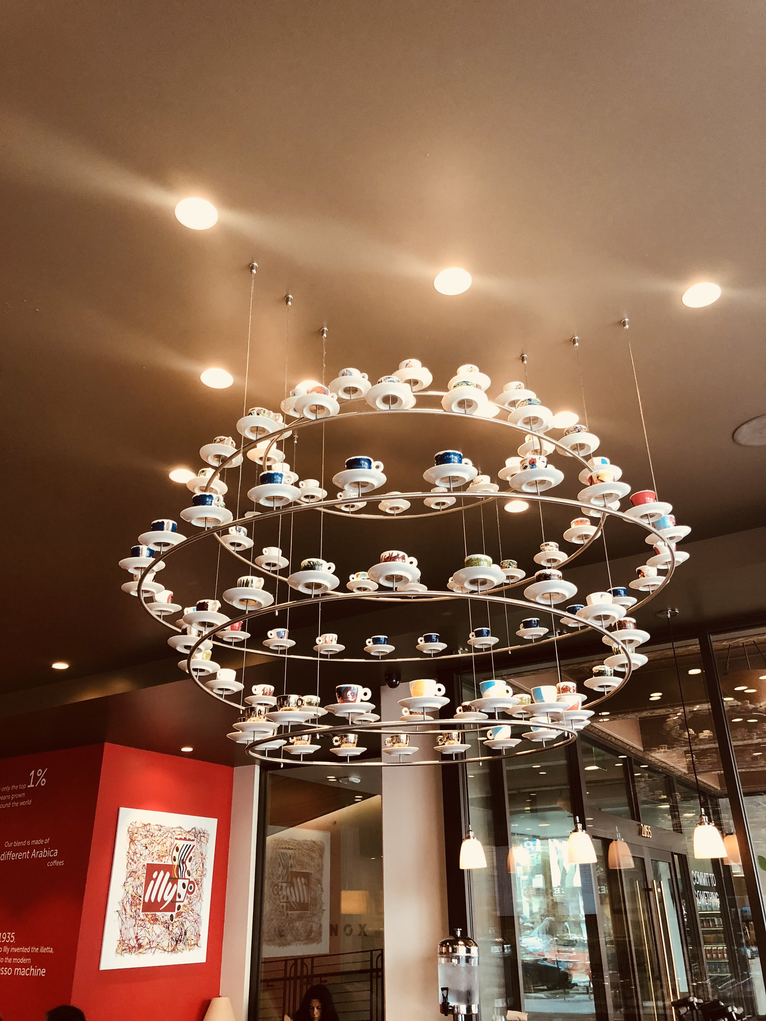 Illy Caffe and its trademark espresso chandelier