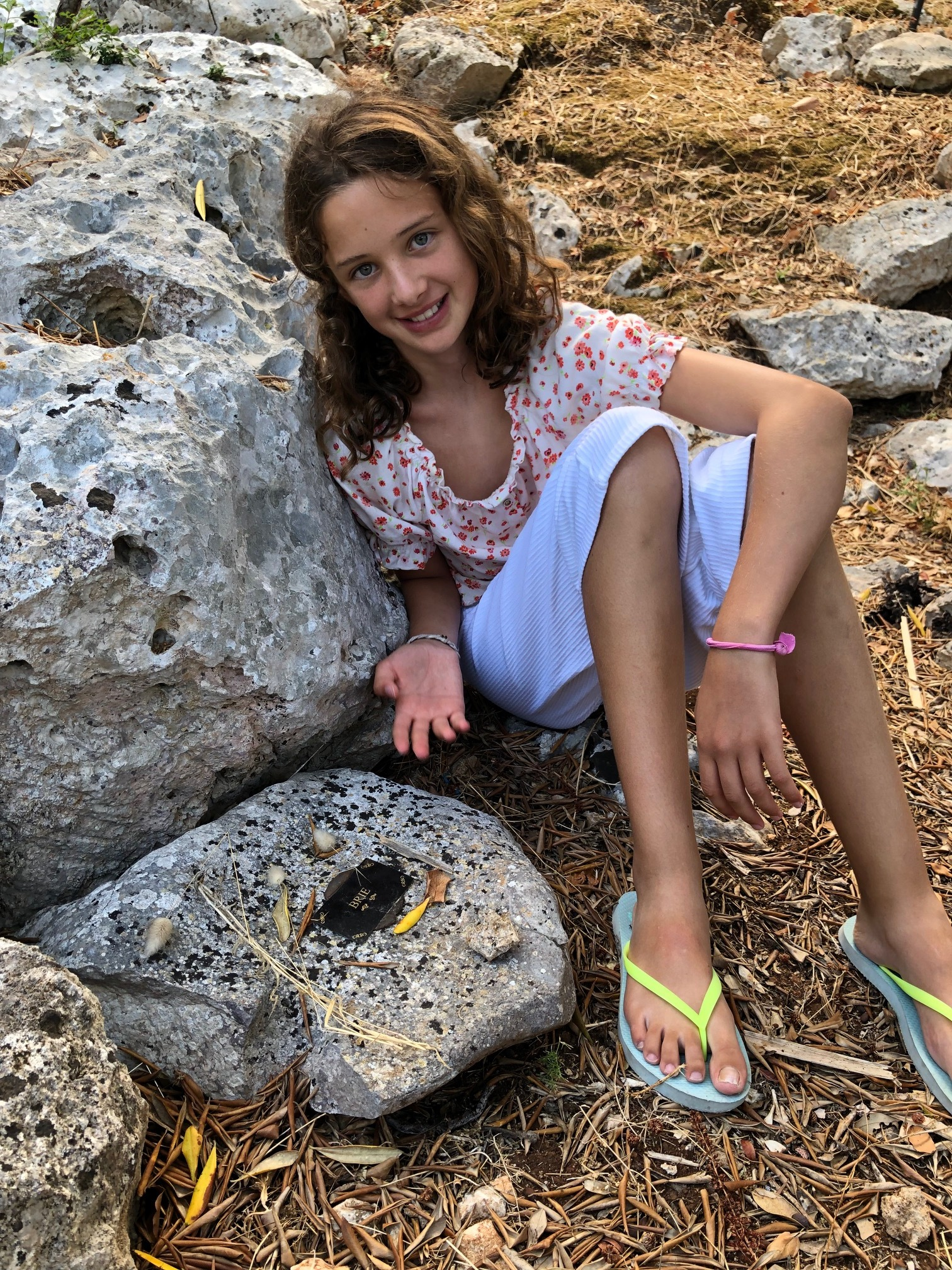 My daughter at Brie's grave in Puglia.