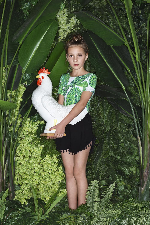 HOWI  Leaf Print Leotard  &  Pom Pom Shorts