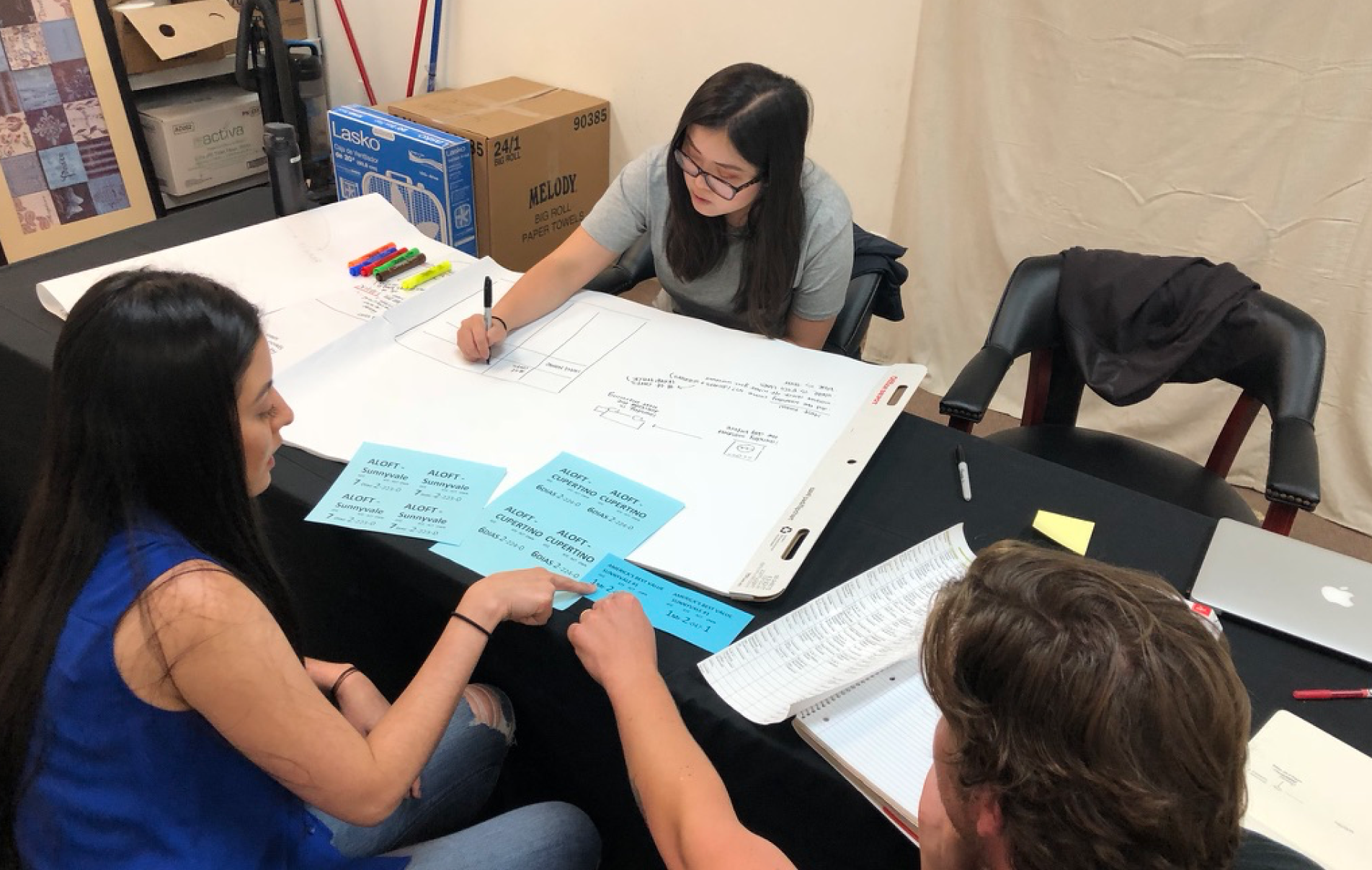 Joanna brainstorms prototypes to improve internal communication