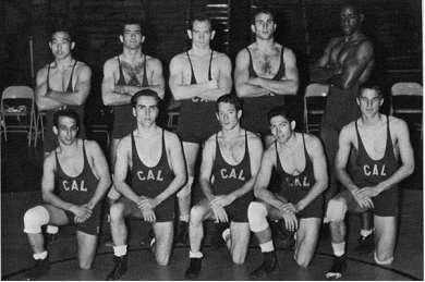 Wrestling    Front Row  (left to right): Phil Watson, Alan Tabor, George Fuller,Alan Siegel, Dave Sears;  Back Row : Haruki Takemoto, Dave Kuhlman, Don Schlotz, Bob Fisher, Jim Porter