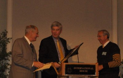 Dr. Robert Albo receiving plaque from Chris and Don