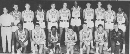 Men's Basketball    Row One : Waddell Blackwell, Don Johnson, Trent Gaines, Russ Critchfield, Rick Hubbell, Steve Desimone, Coach Rene Herrerias; Row Two : Pat Gilligan (Manager), Tom Henderson, Wendell Kallenberger, Bob Albright, Bob Wolfe, Willoughby Johnson,and five players to be named later