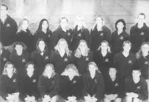 Women's Water Polo    Front Row (left to right): Sabrina Nespeca, Erin Kelley, Heather Petri, Karie Gray, Alisa von Hartitzsch, Fana Fuqua, Kaliya Young; Second Row : Lisa Berquist, Kari Johnson, Tiffany Duncan, Evi Schueller, Melanie von Hatitzsch, Alicia Razzari, Karen Cook, Brooke Spittler; Back Row : Steve Doten (Ass't Coach), Kate Brown, Elisa Sue, Beth Sprinkle, Colette Glinkowski, Keri Hoover, Jen Chan, Maureen O'Toole (Head Coach)