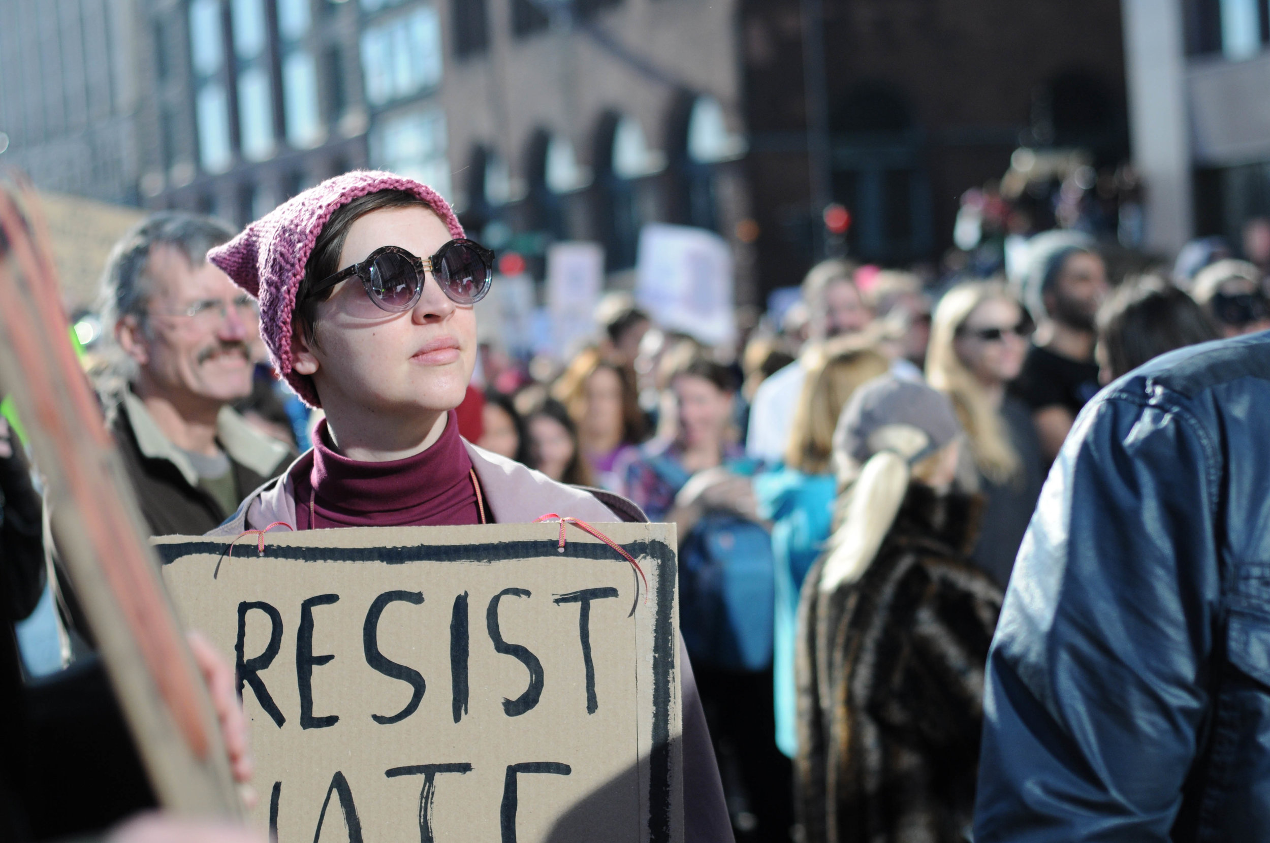 A protestor at the Women's March on Chicago.    Photo by Audrey Valbuena