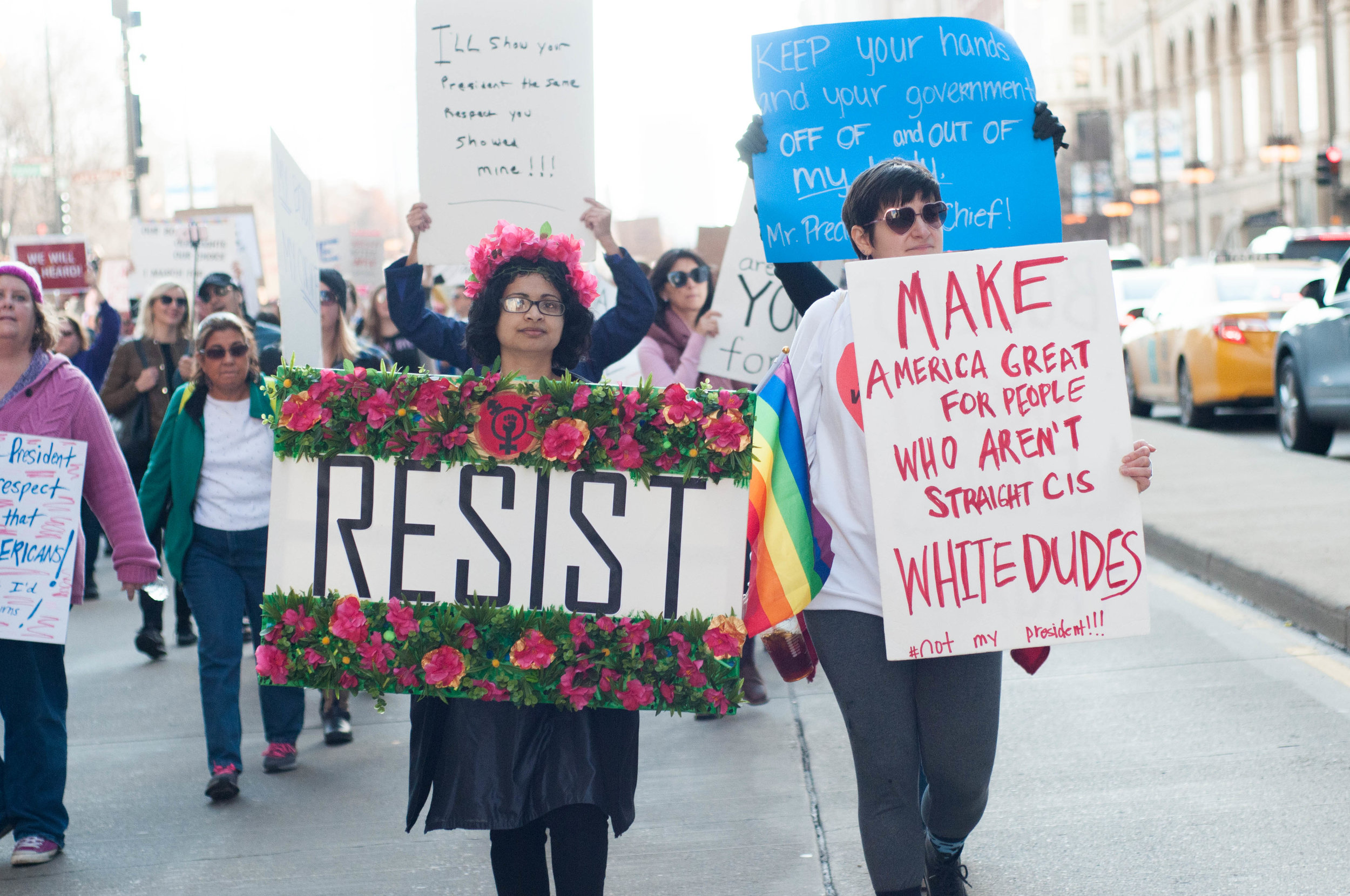 Protestors at the Women's March on Chicago.    Photo by Audrey Valbuena