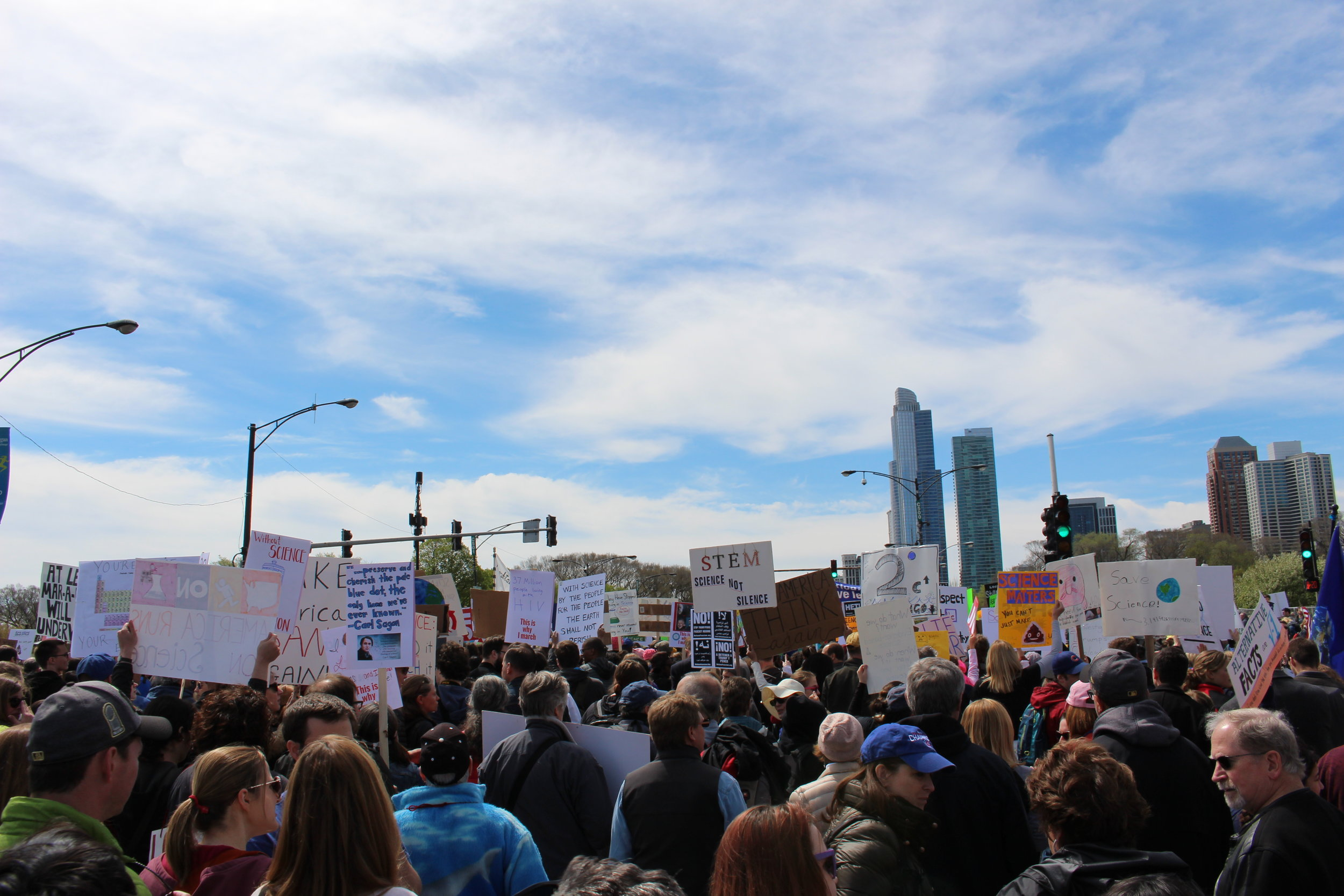 Scientists and science fanatics lined the streets, marching for funding and the truth.    Photo by Audrey Valbuena