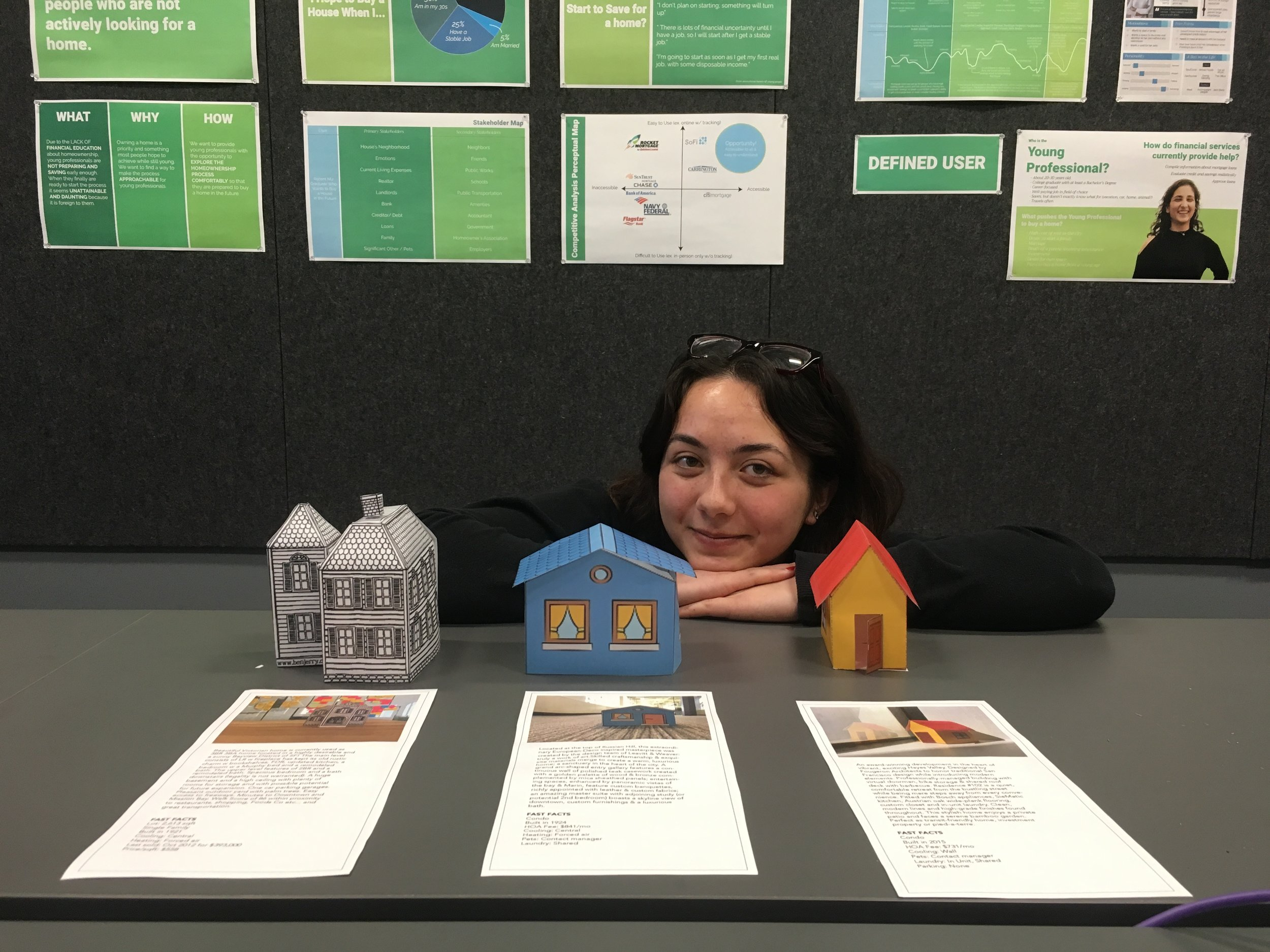 "I created physical houses as a part of user testing to examine emotions about the home ""mood board."" It was also fun to bring our work into the physical instead of the digital!"