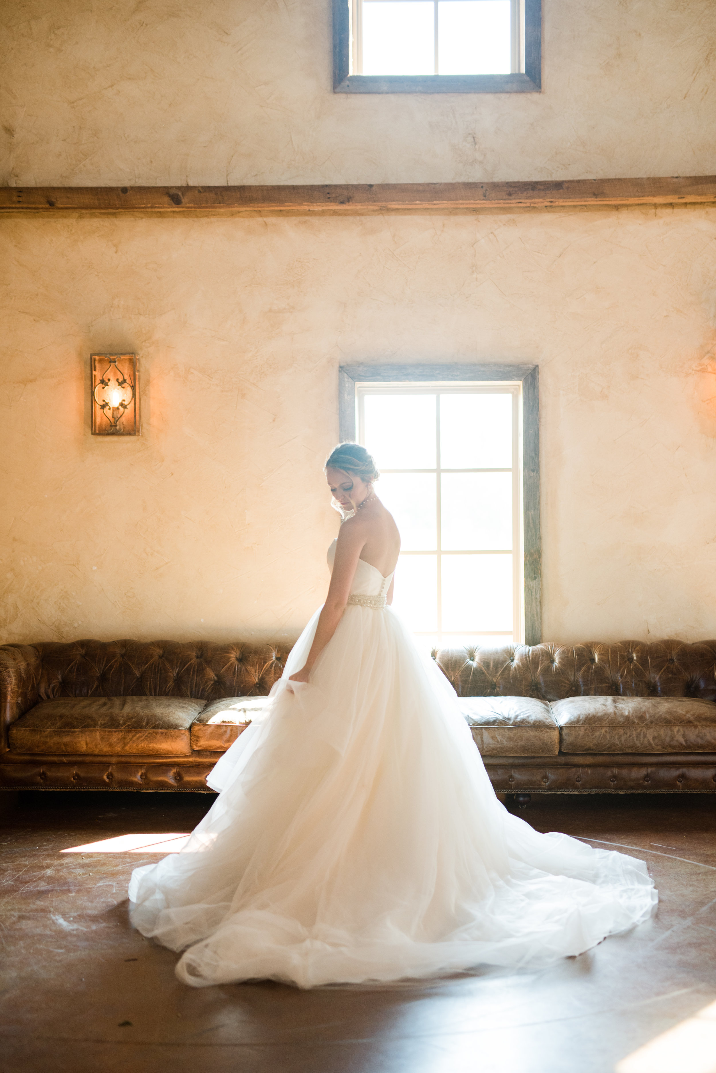 The Barn at Bridlewood wedding in Hattiesburg, Mississippi (MS) in June | Bride alone