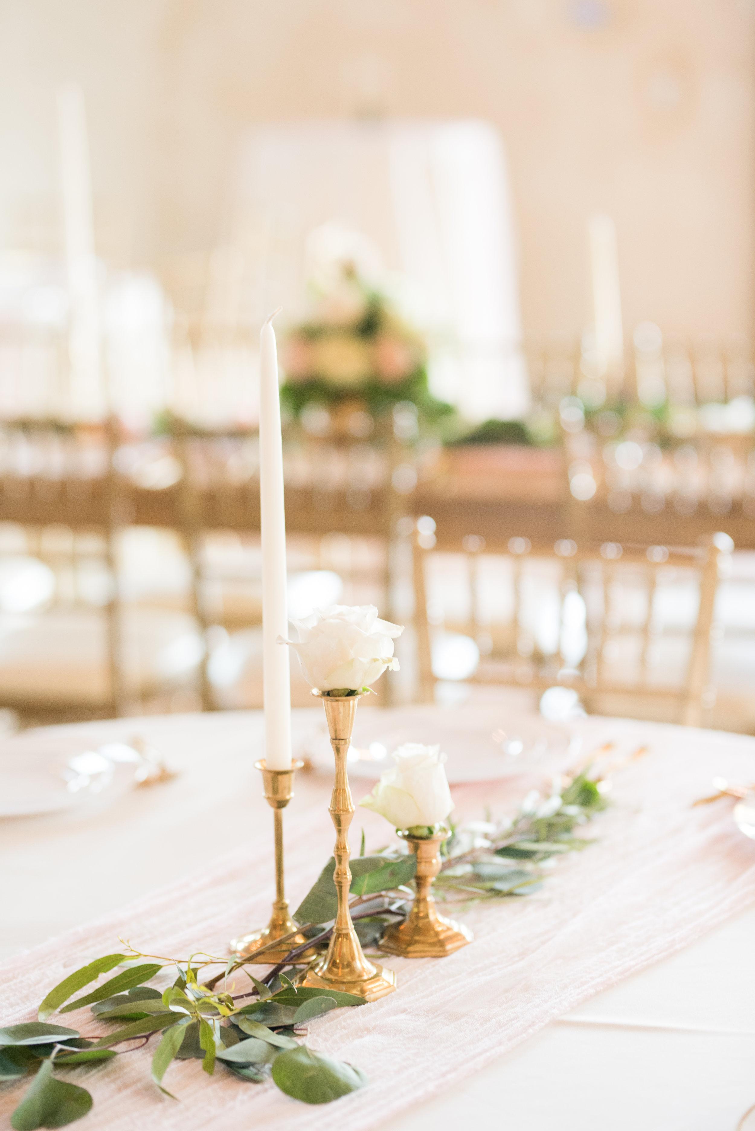 The Barn at Bridlewood wedding in Hattiesburg, Mississippi (MS) in June |  Wedding Venue Decor | florals | candlesticks | candelabra | greenery