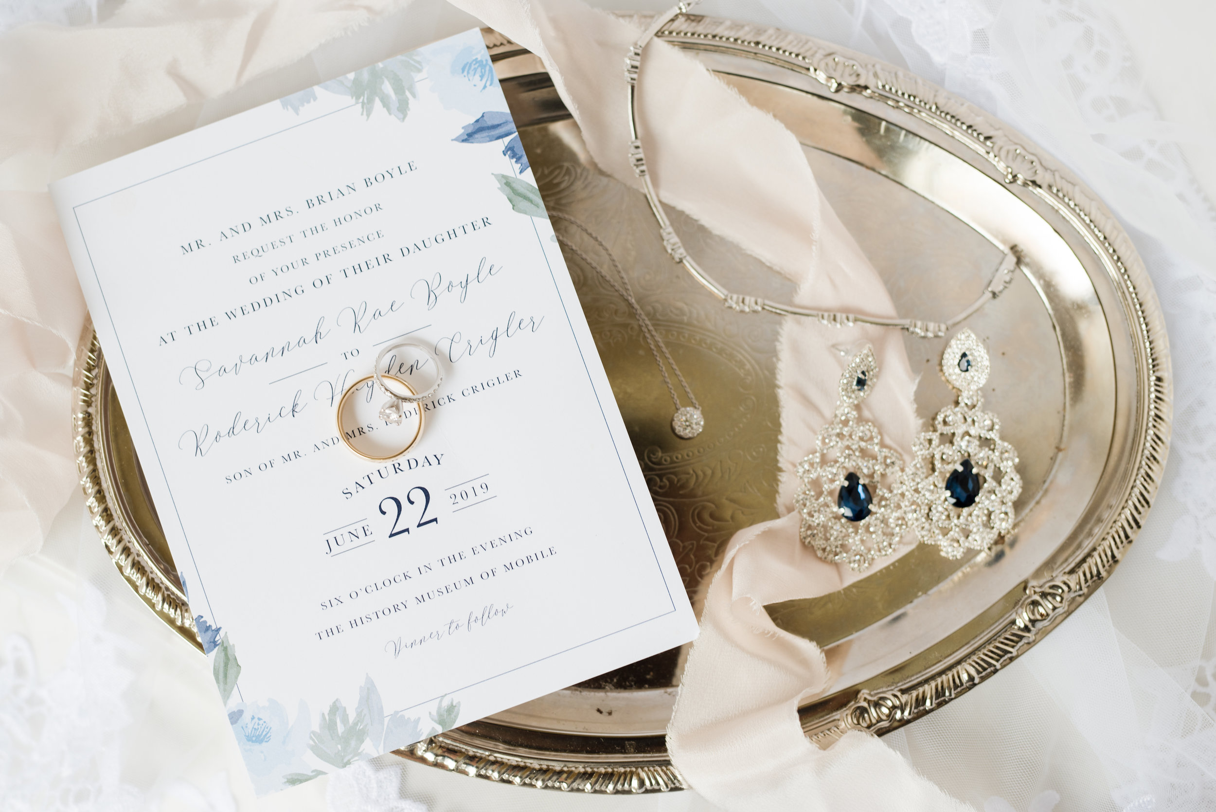 History museum of mobile, alabama wedding details / wedding rings, wedding jewelry, wedding earrings, wedding necklace, wedding bracelet, wedding stationary, wedding veil, shot by kristen marcus photography in June