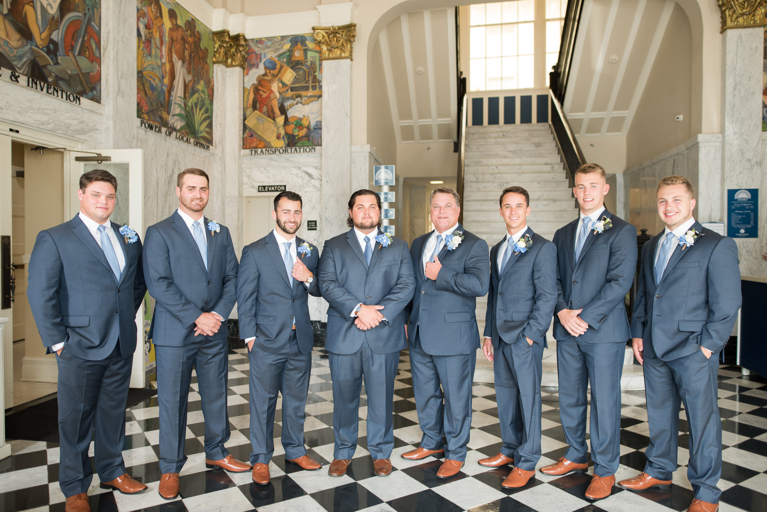 History museum of mobile, alabama wedding groomsmen shot by kristen marcus photography in June