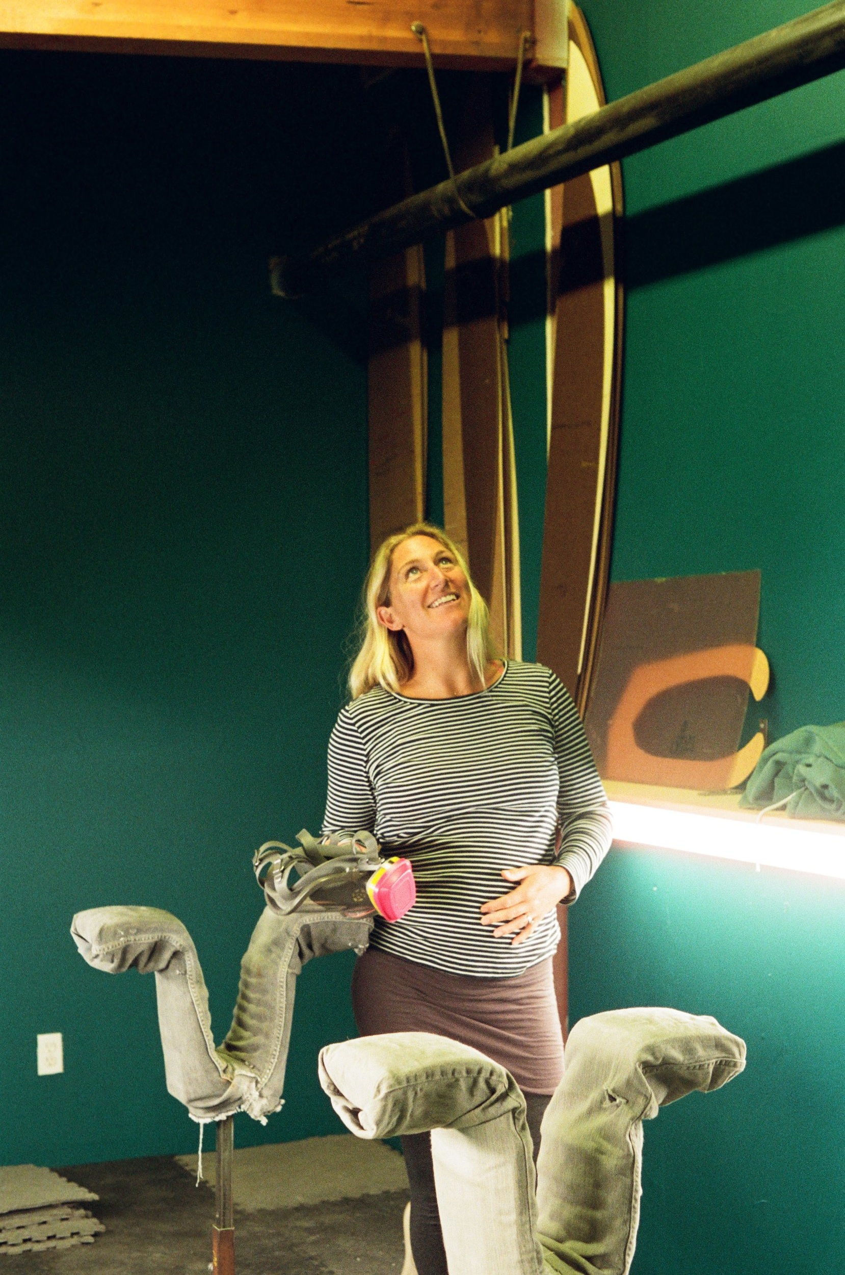 Ashley Lloyd in her shaping bay. (Santa Cruz, California)