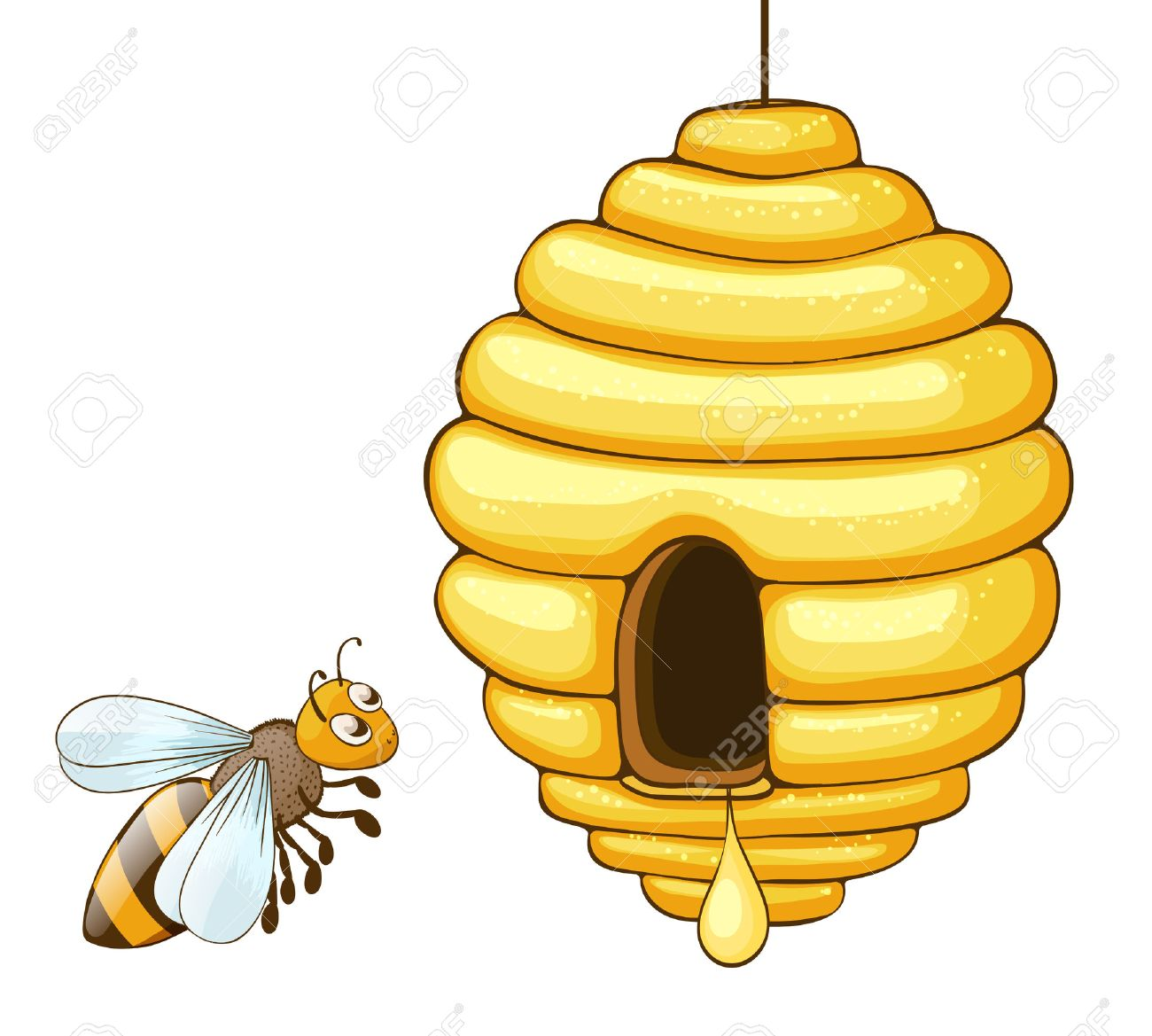 61099137-bee-flying-and-beehive-with-honey-drop-vector-illustration.jpg