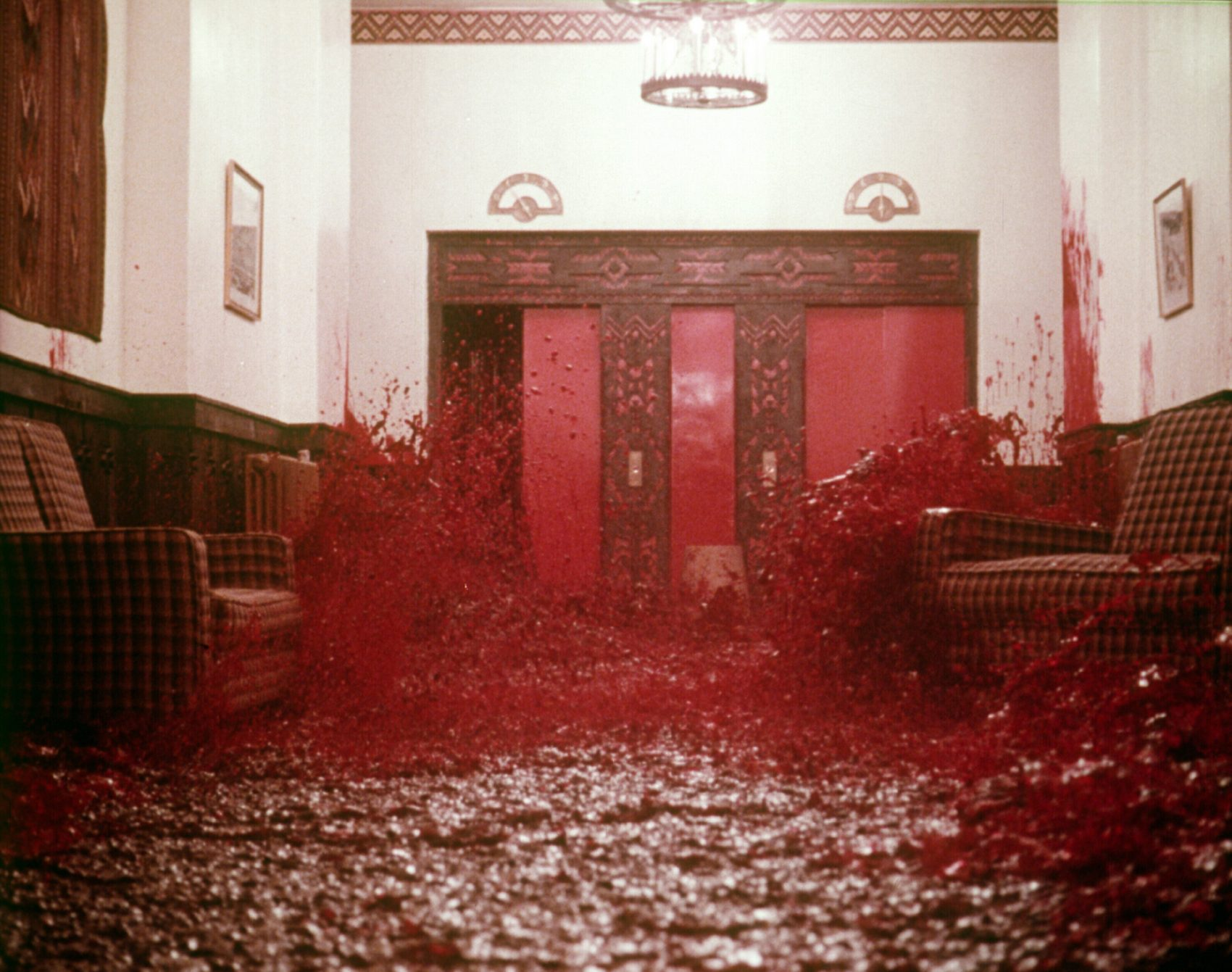 Blood pouring from the elevator