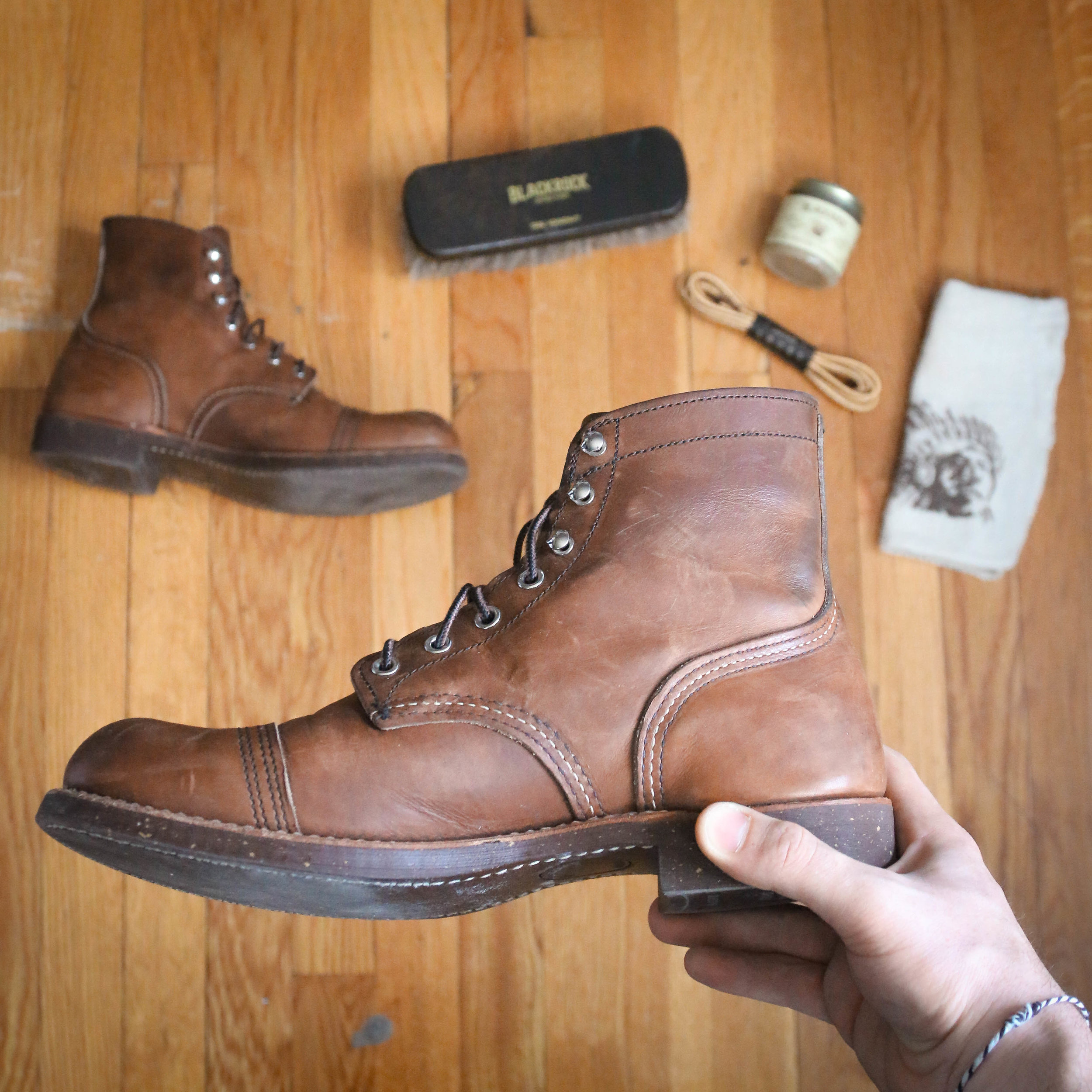 Iron Rangers with a care kit from Blackrock Leather