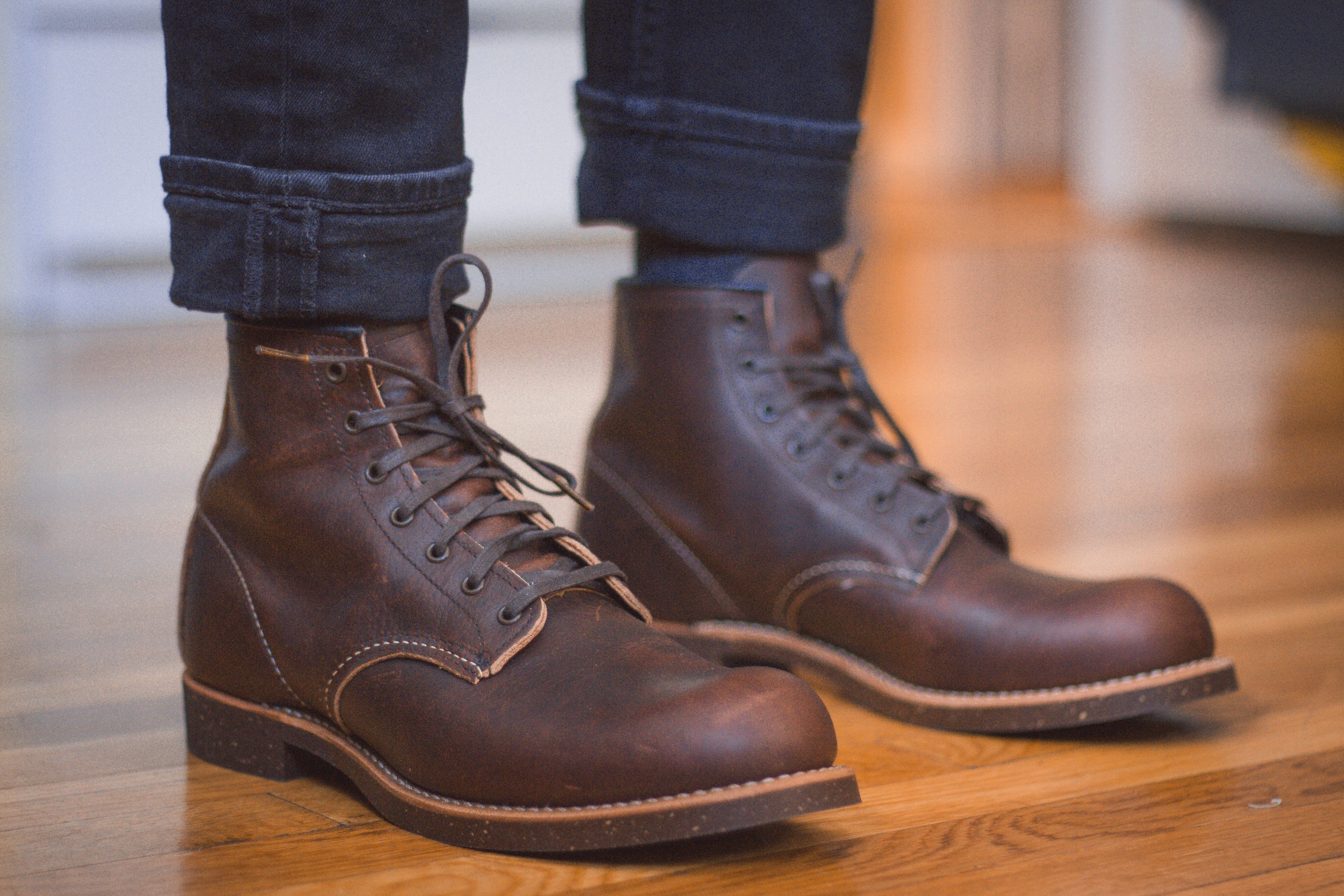 A perfect pair of Red Wing Blacksmith 3340 in Briar Slick Oil Leather I stupidly returned! Part of a Brooks Brothers Collaboration, these ditched the speed hooks, which were replaced by more eyelets.