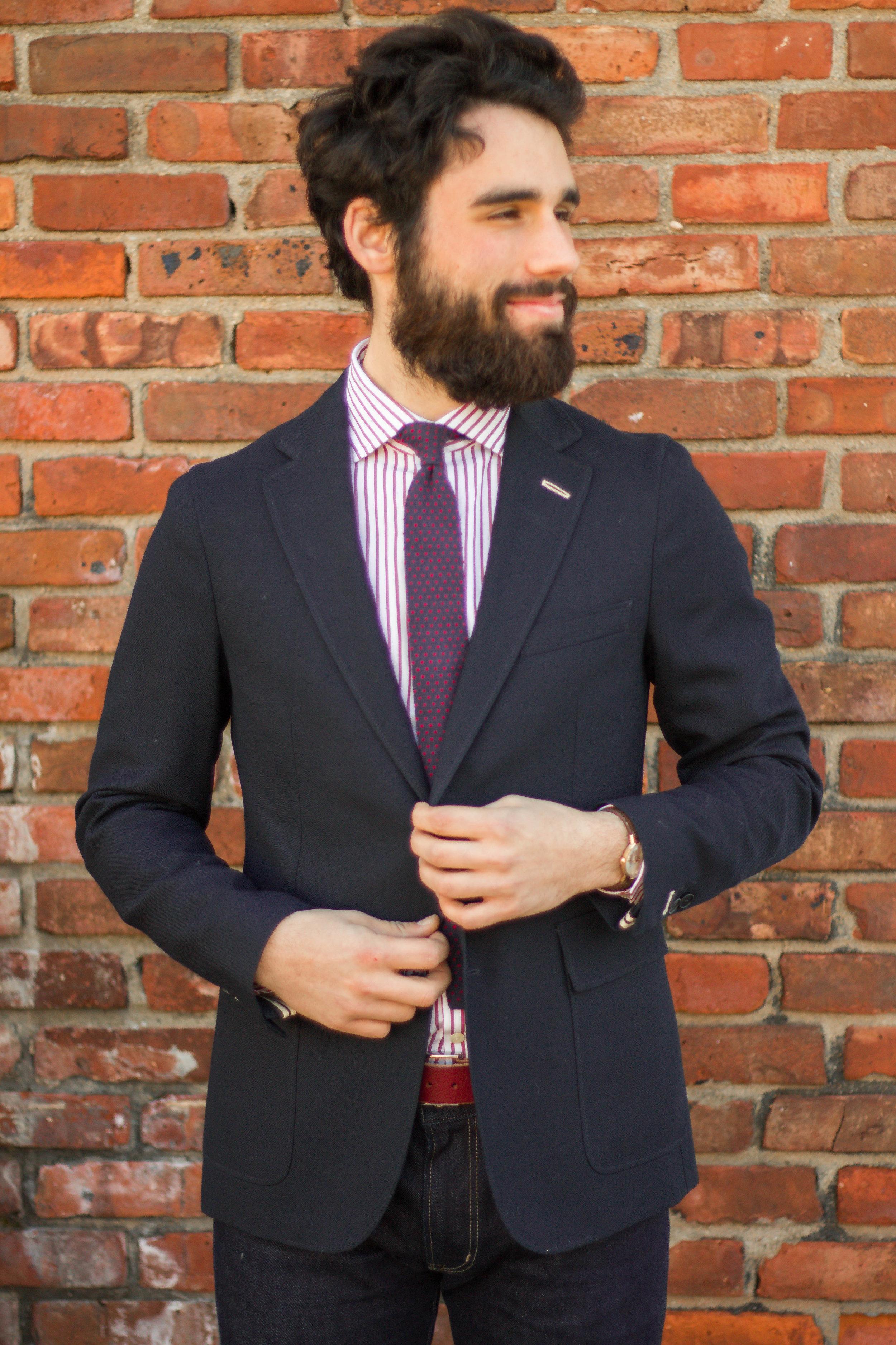 Pairing the shirt here with a J. Crew knit tie and a Gant Rugger blazer.
