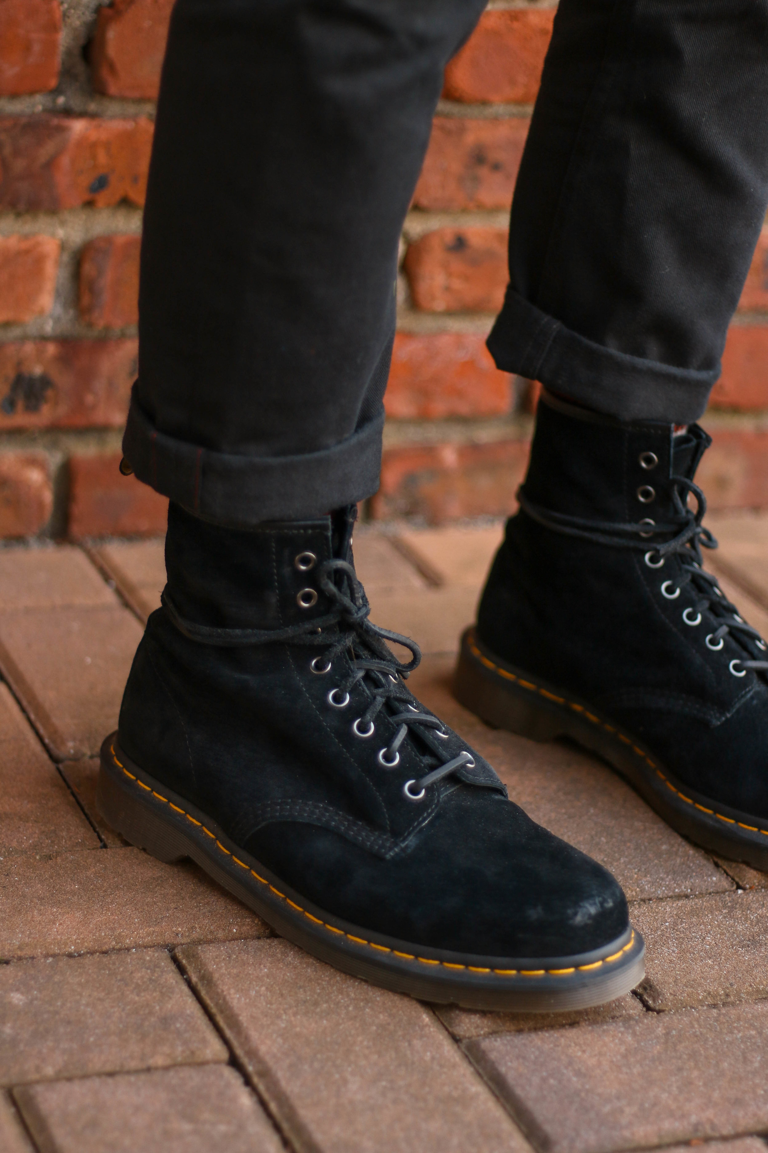 My Doc Marten 1460 in black suede paired with black selvedge military chinos from Polo Ralph Lauren.