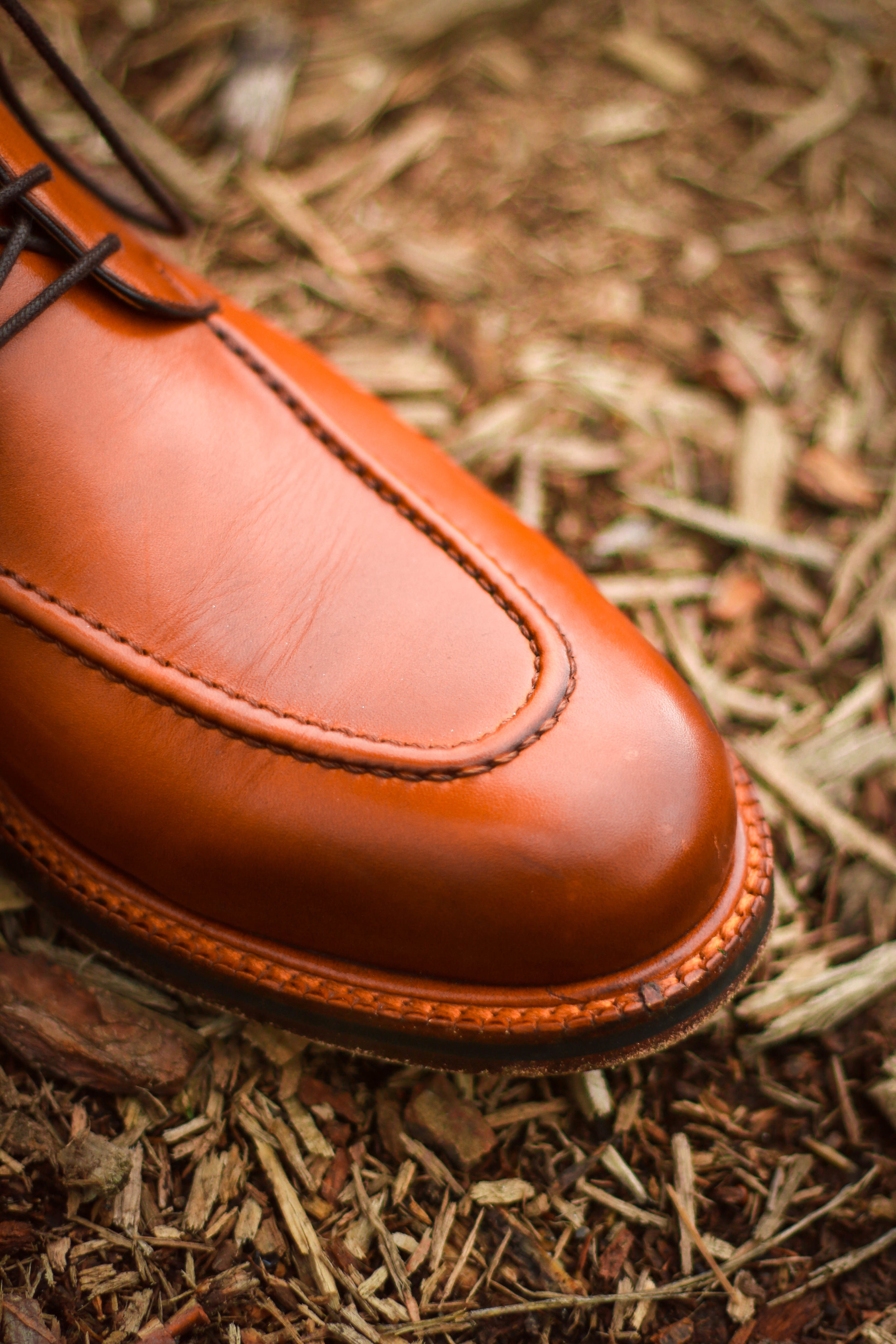 This calfskin leather is high quality and characteristic of a dress boot. Notice that elegant burnishing and welt too.