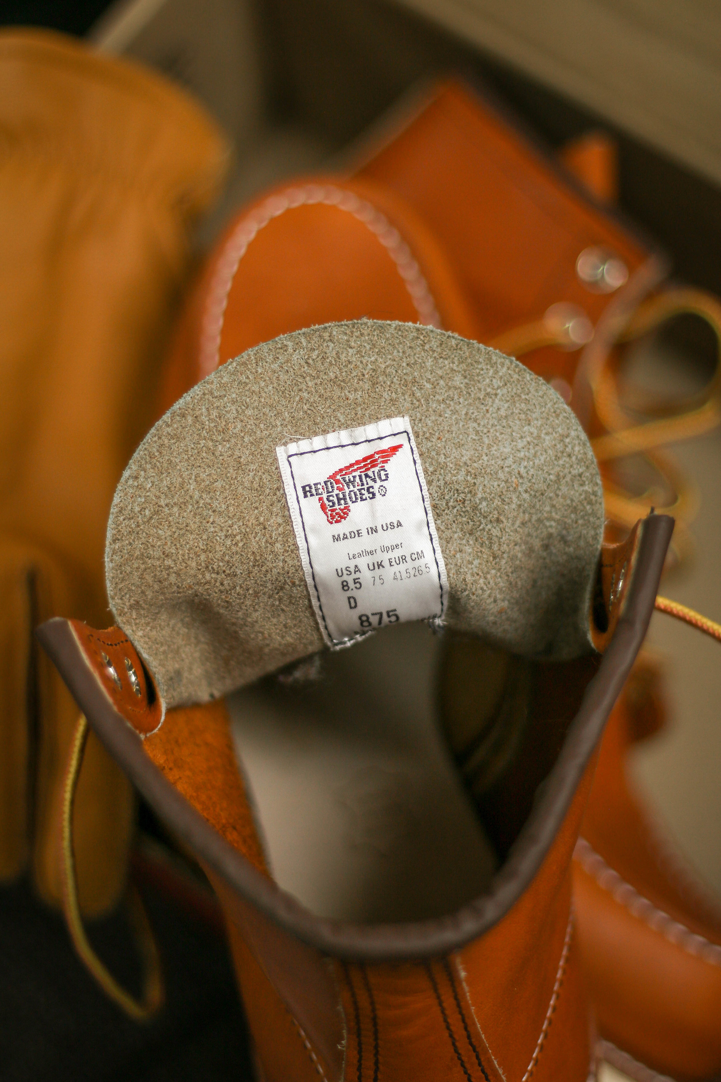 You can see the beauty of the unlined leather, and leather insole. The tag also deploys the M/Y it was made, and the model number. They have nothing to hide!