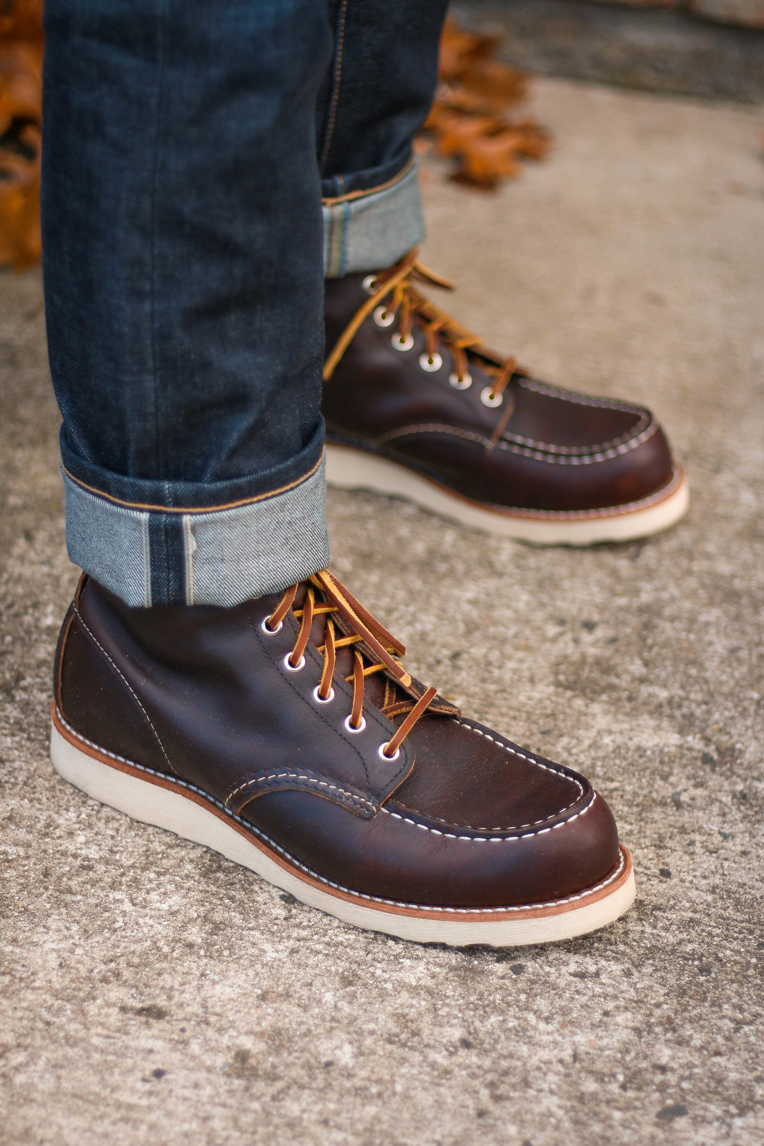 The understated style of the Red Wing Moc means it appeals to more style minded guys. Hence, you can find them at Nordstrom, etc.
