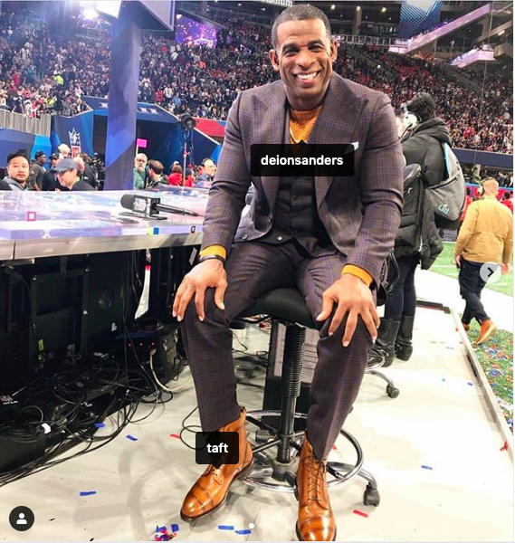 Taft is probably the only brand on Instagram that frequently has celebrities and athletes, like NFL legend Deion Sanders, repping their boots without being paid